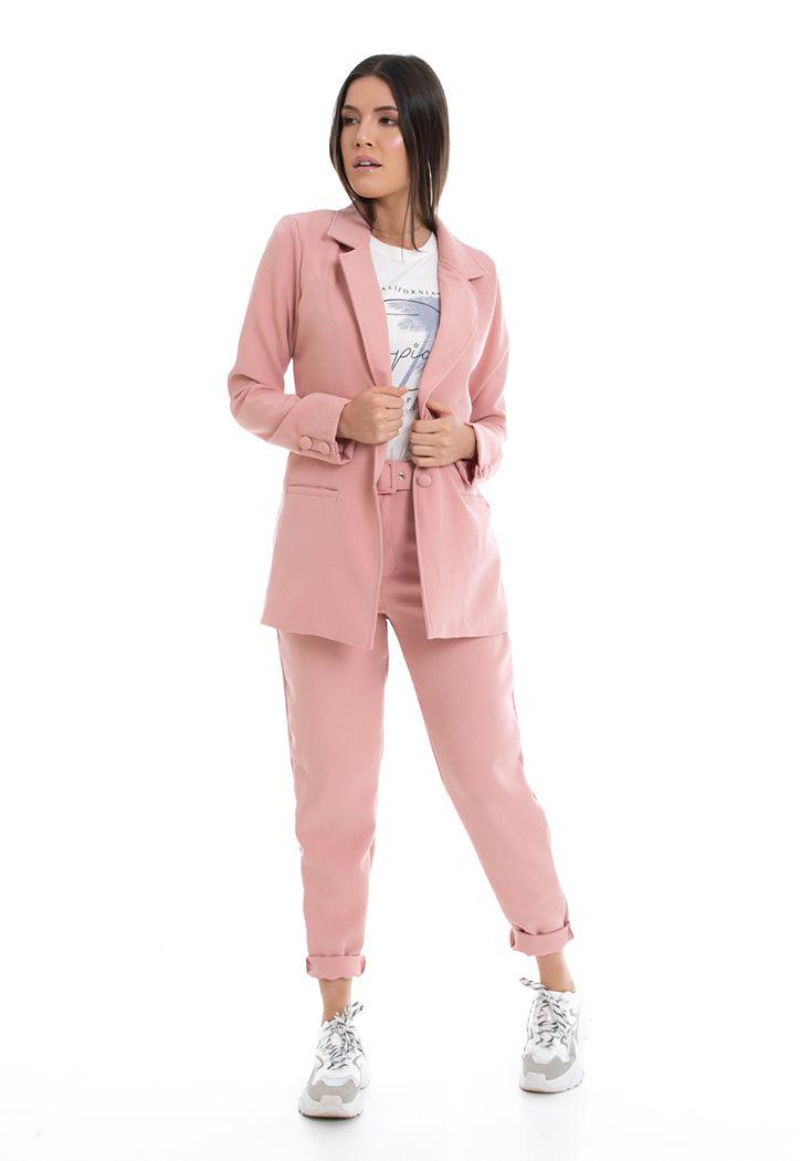 Calça PKD de Tecido Com Cinto Rosa