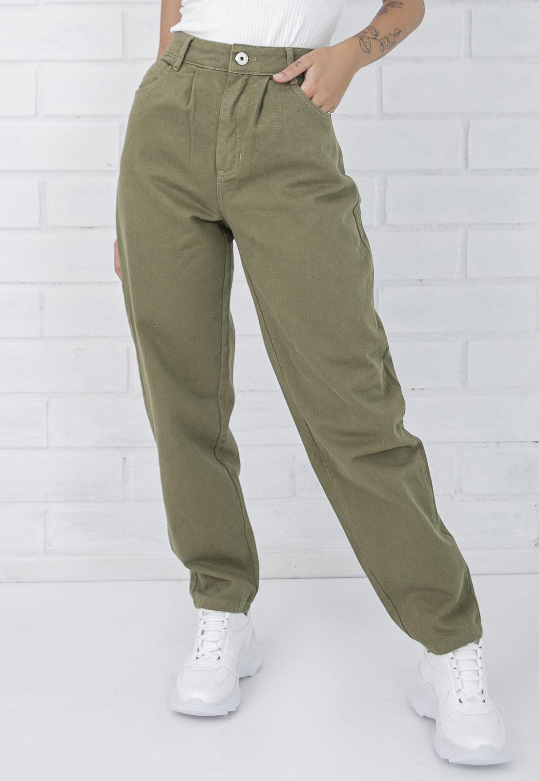 Calça Jeans Slouchy Naomi Verde Militar Pkd