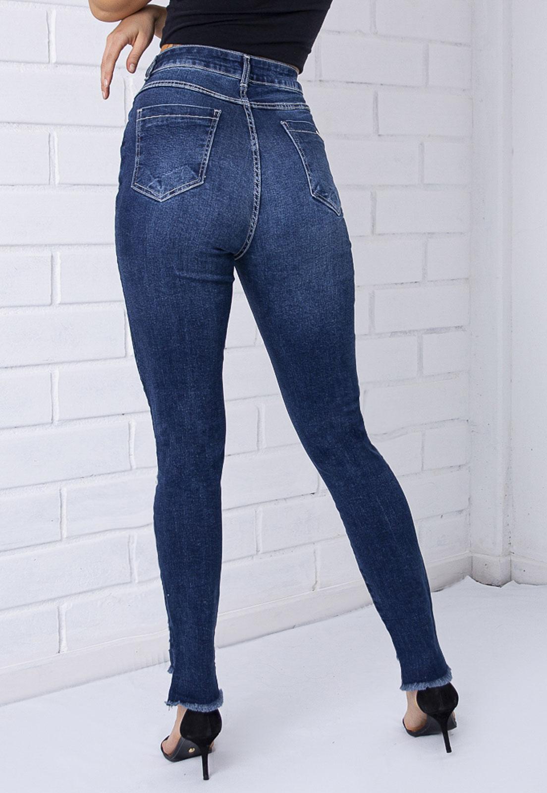 Calça Skinny Destroyed Gancho Alto Jeans Escuro Pkd