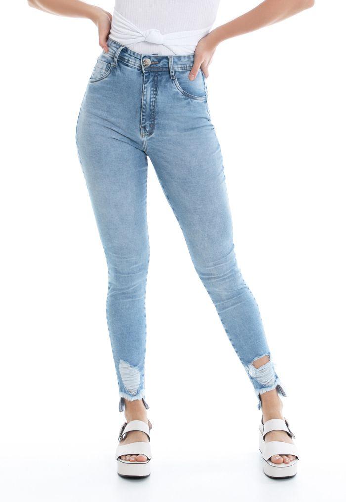 Calça Super Skinny Pkd Barra Destroyed Jeans Clara