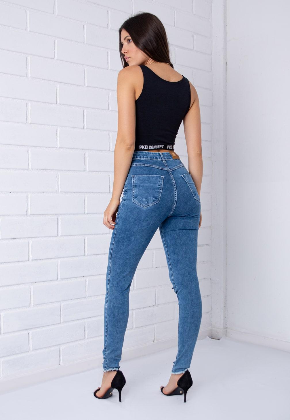Calça Skinny Pkd Com Botões Encapados Destroyed Jeans