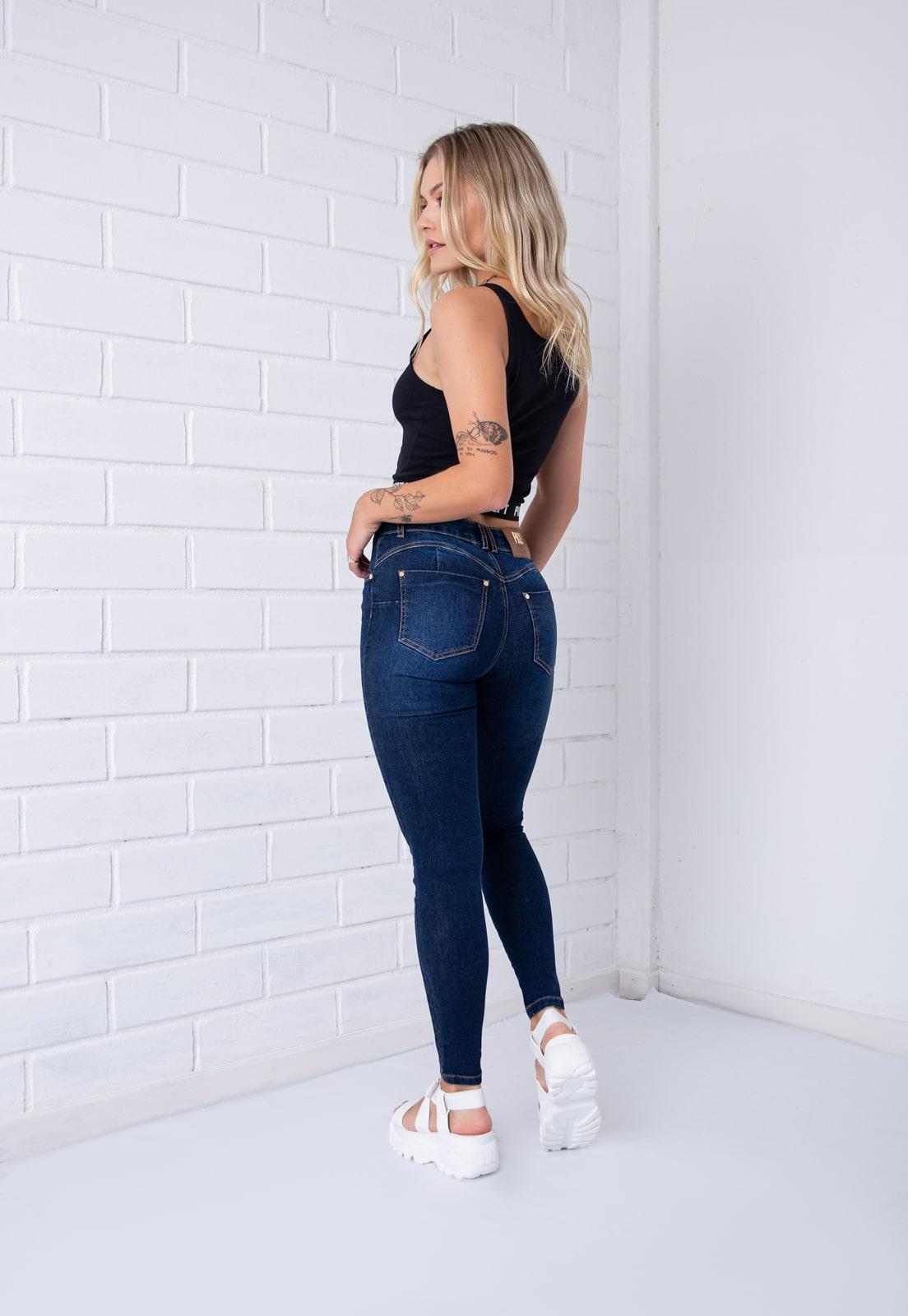 Calça Skinny Pkd Gancho Alto Jeans Escura