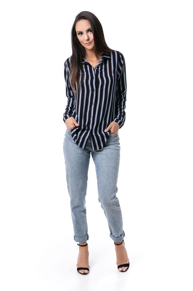Camisa Alongada Pkd Listrada Azul