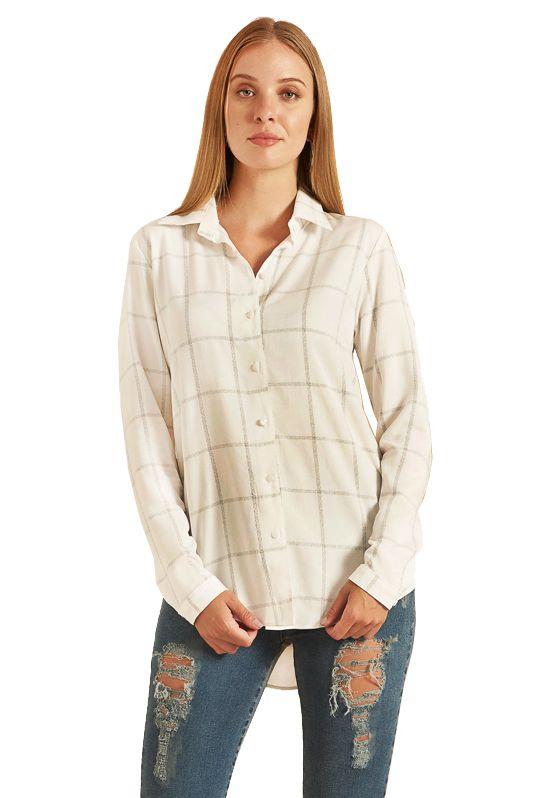 Camisa Alongada Pkd Xadrez Branca