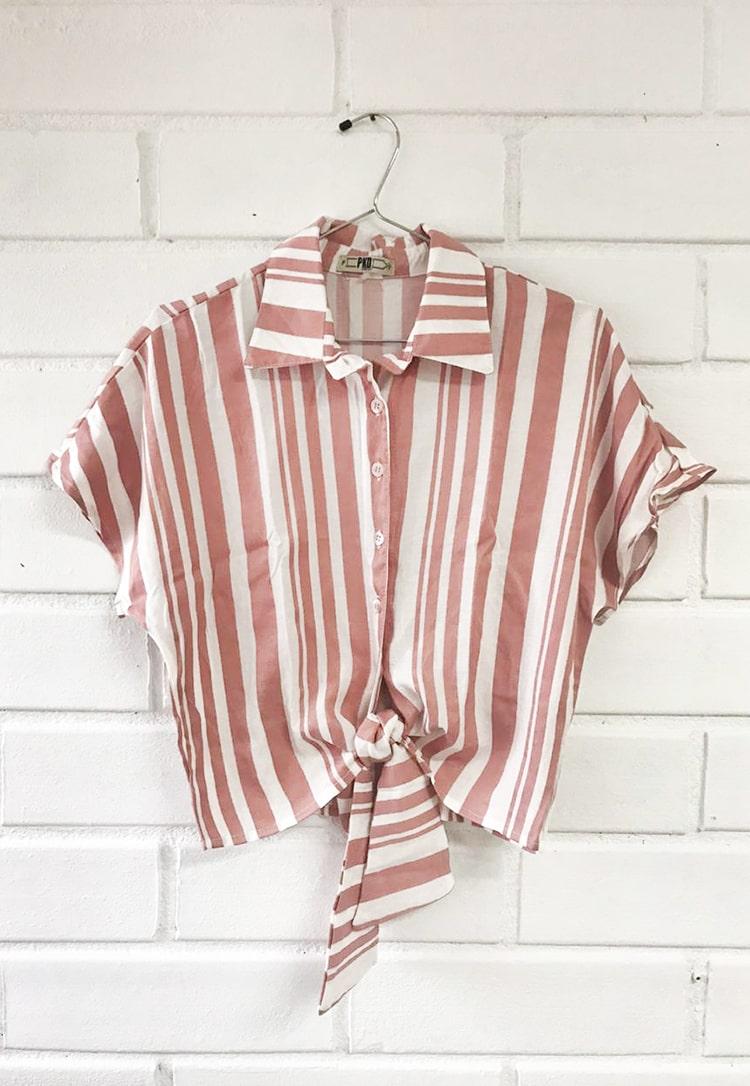 Camisa Cropped Pkd Com Amarração Listrada
