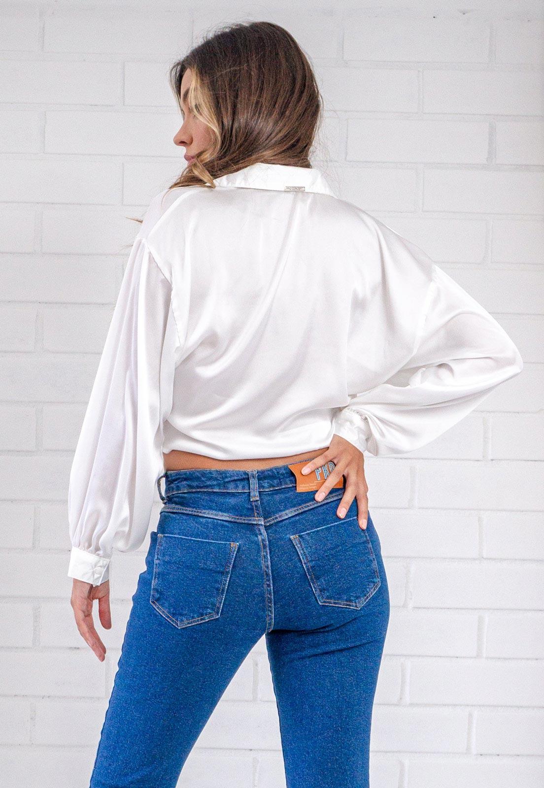 Camisa Glossy Cropped com Amarração Branca Pkd