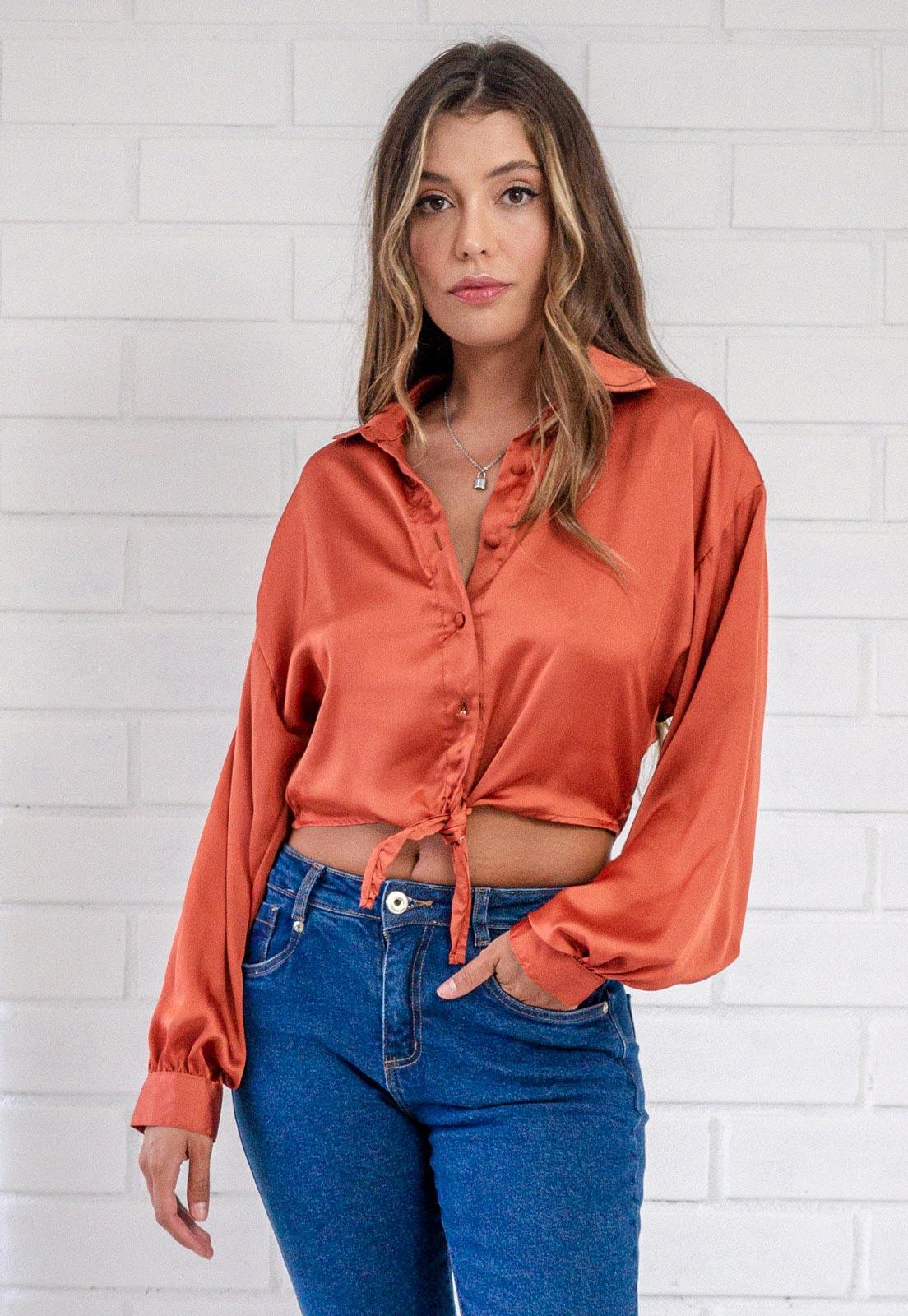Camisa Glossy Cropped com Amarração  Ferrugem Pkd