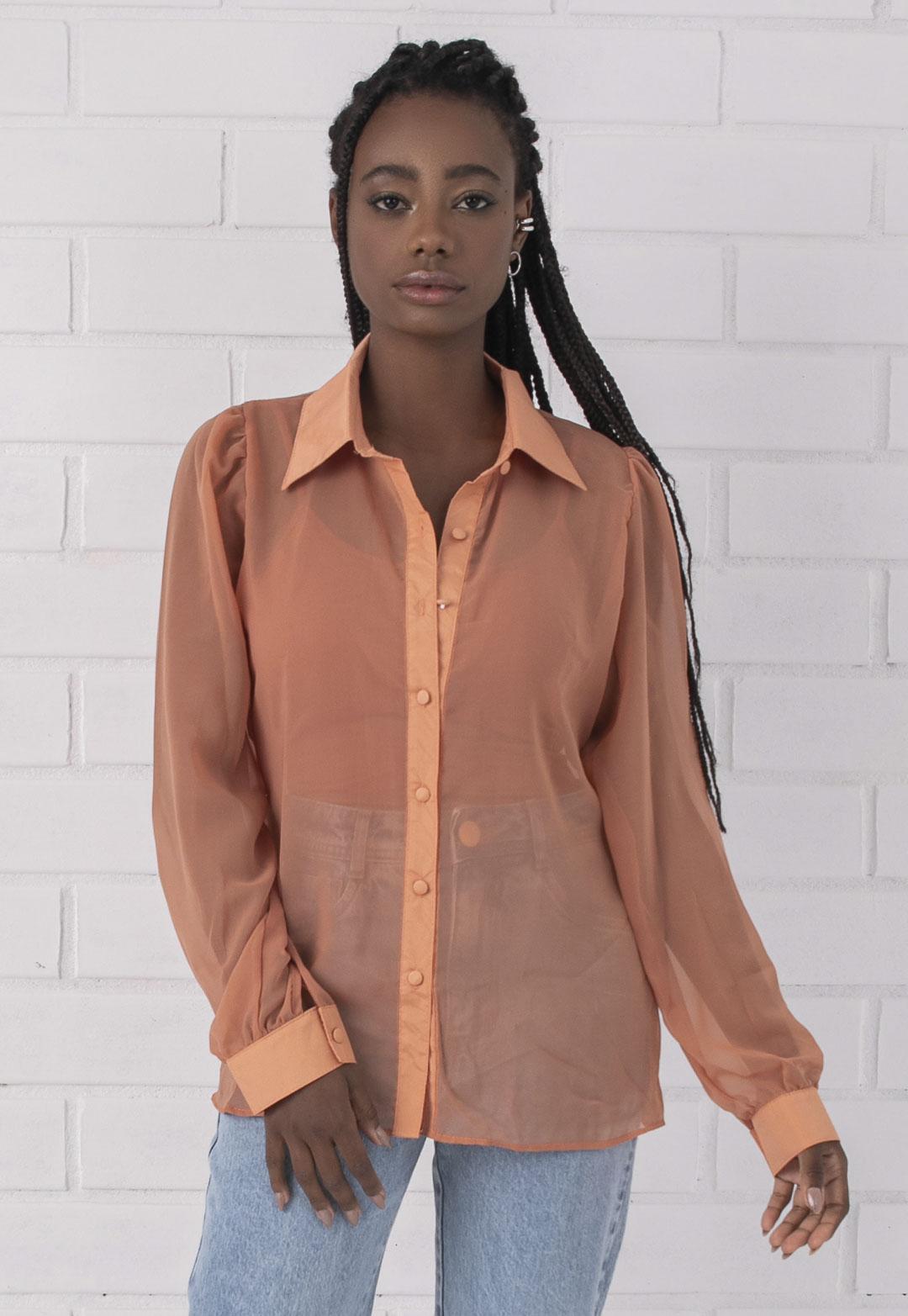 Camisa Pkd Transparente Pêssego