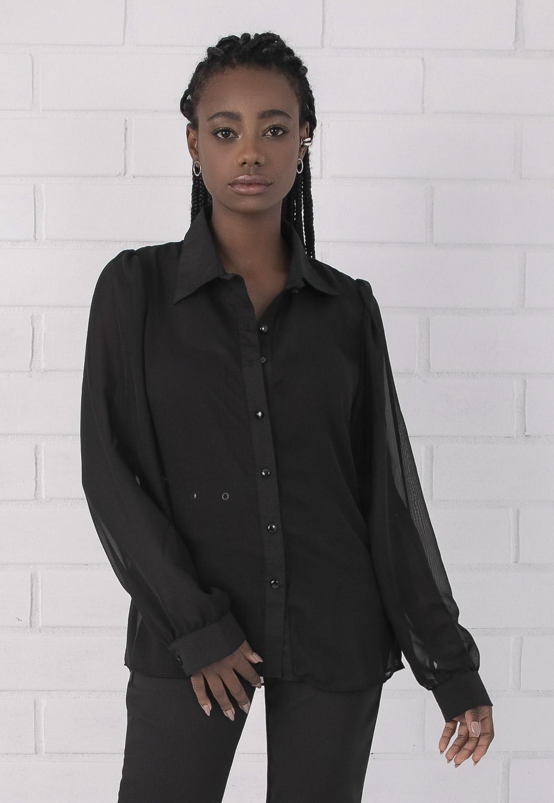 Camisa Pkd Transparente Preta
