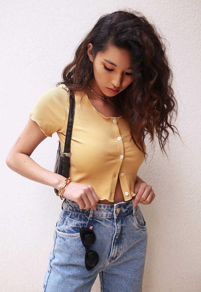 Cropped Pkd Trendy Canelado Com Frufru Amarelo