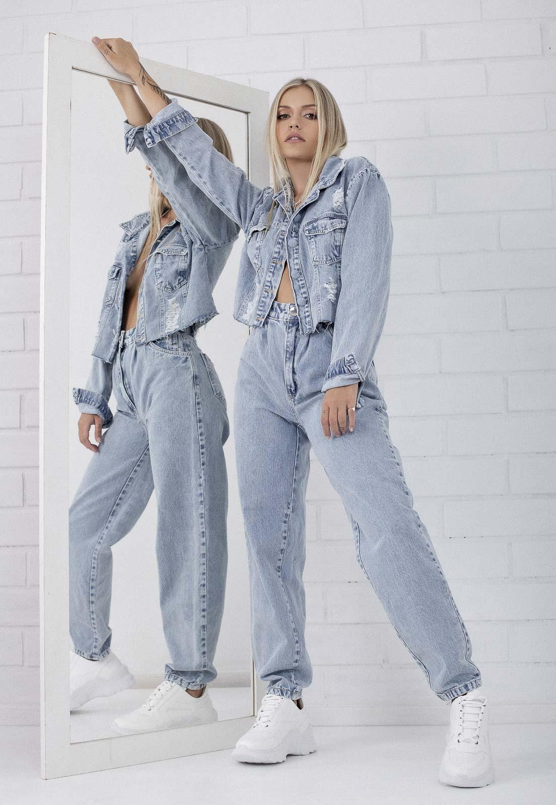 Jaqueta Cropped Destroyed Jeans Claro Katerine Pkd