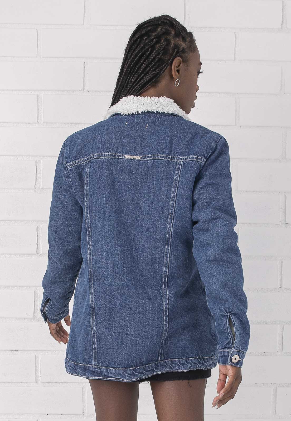 Jaqueta Jeans Escuro com Forro de Pelo Alongada Siena Pkd