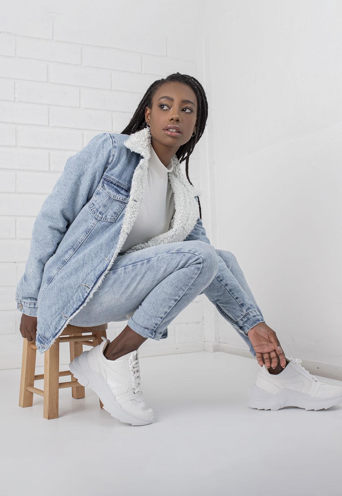 Jaqueta Jeans com Forro de Pelo Alongada Siena Pkd