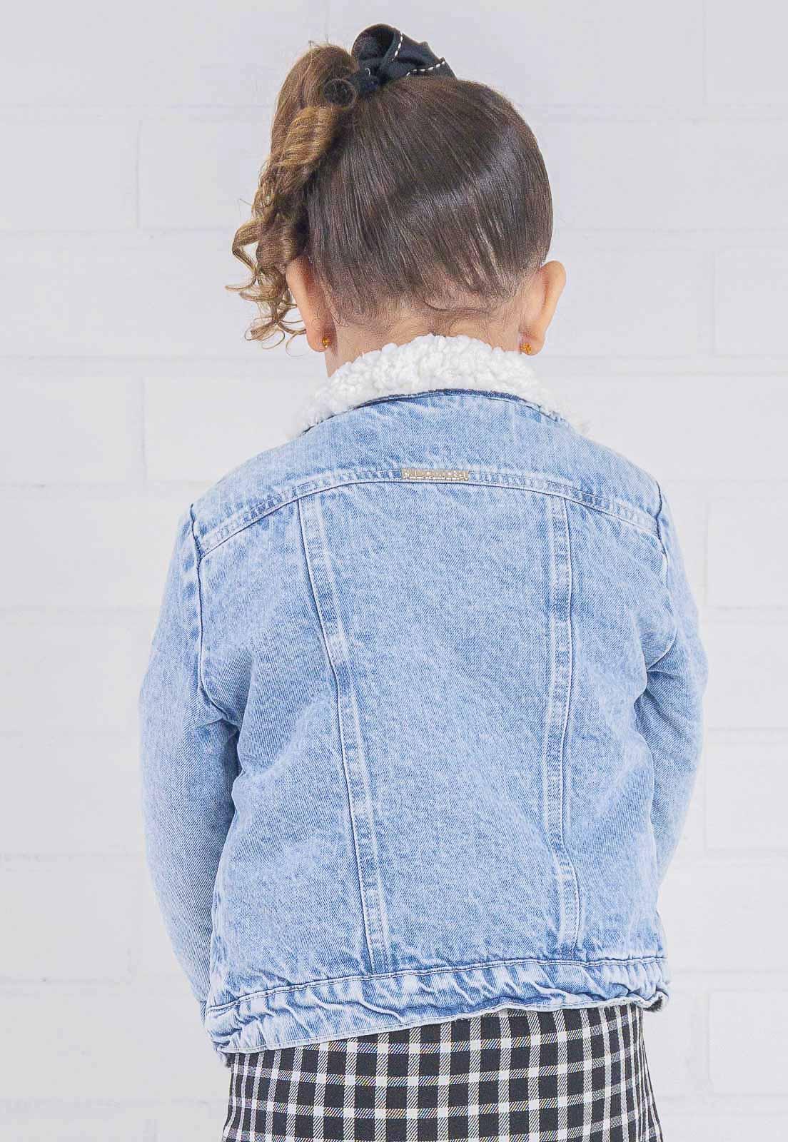 Jaqueta Jeans Infantil Com Forro de Pelo Mini Alexa (Unissex)