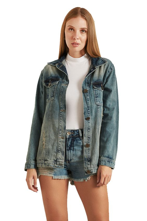 Jaqueta Pkd Estampa Costas Jeans