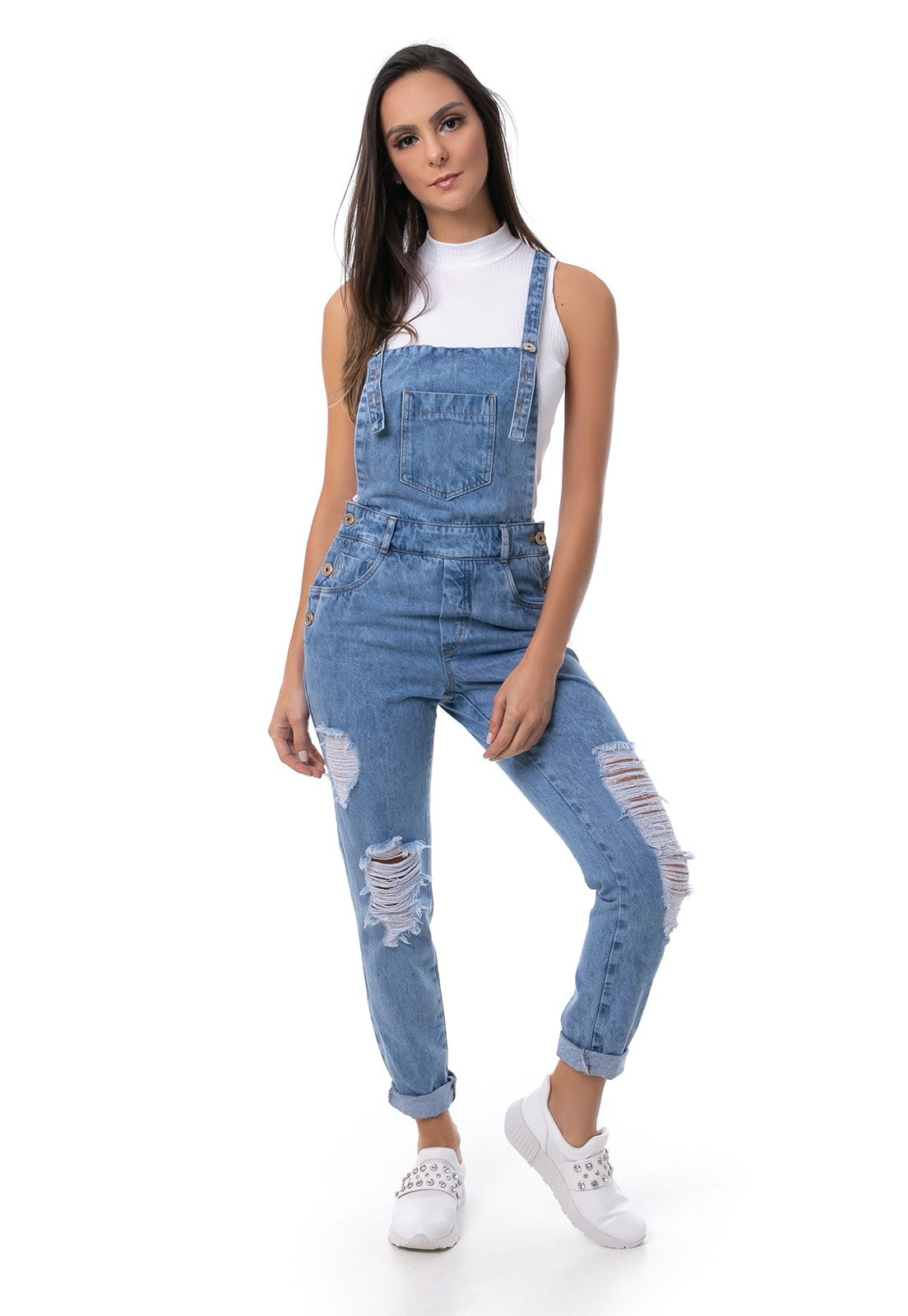 Jardineira Pkd Destroyed Jeans