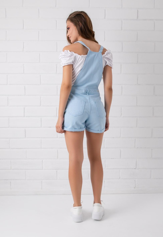 Jardineira Shorts Pkd Azul Claro