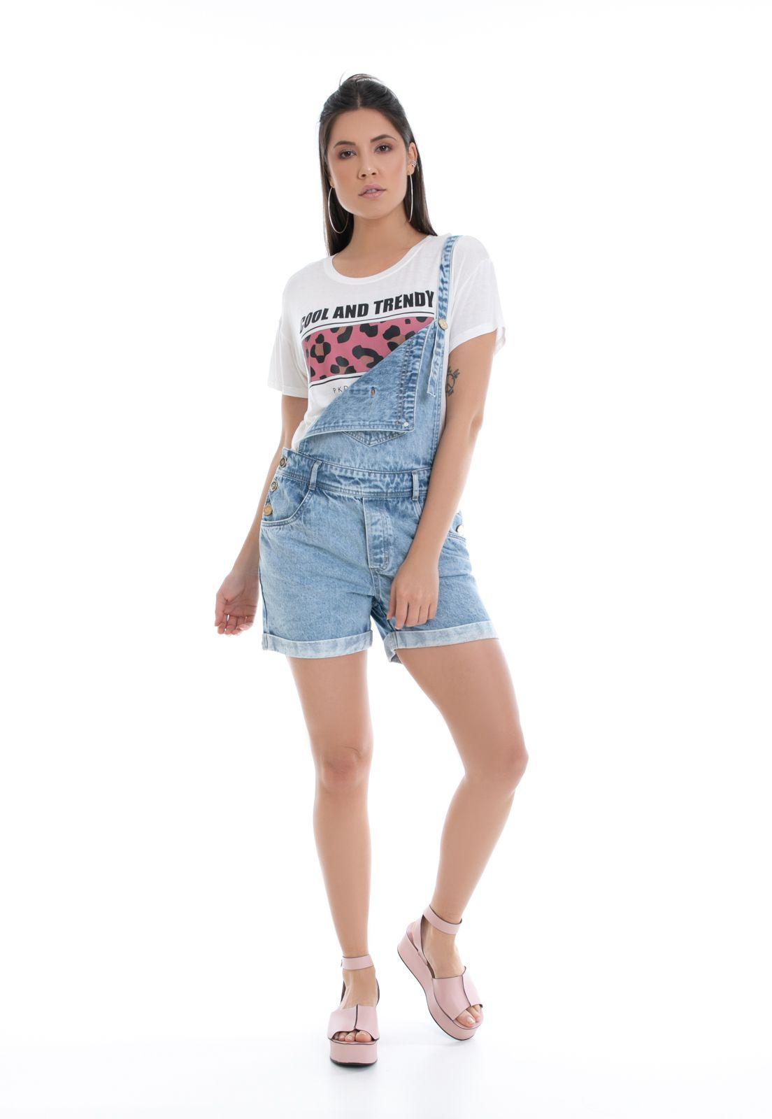 Jardineira Shorts Pkd Jeans Claro