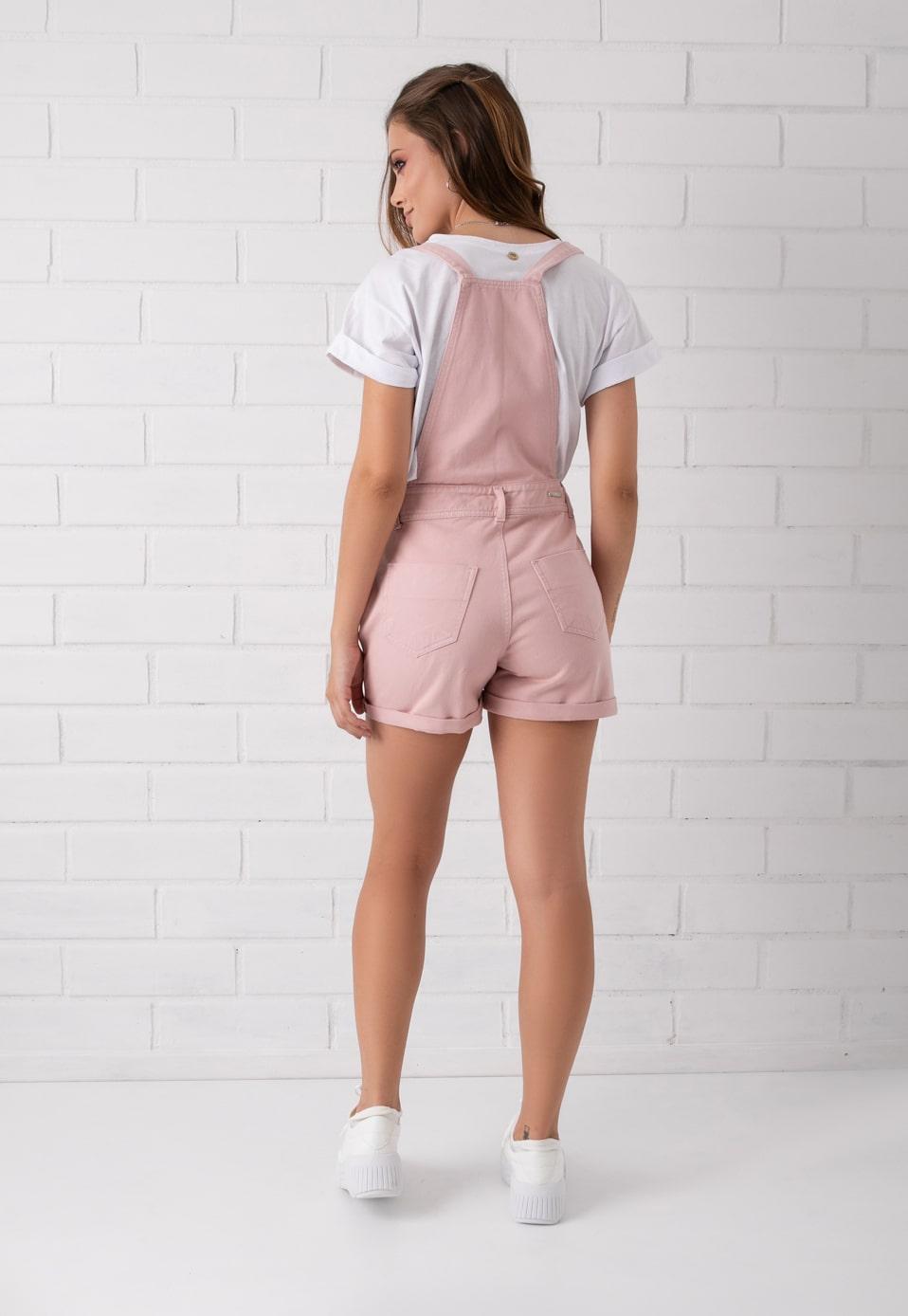 Jardineira Shorts Rosê Pkd