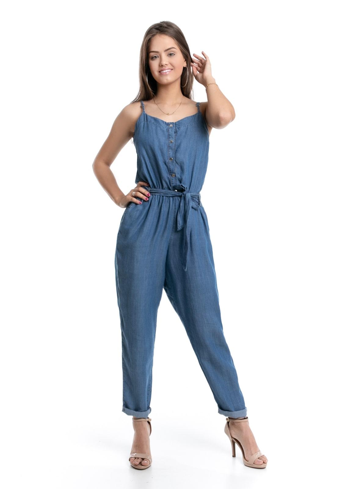 Macacão De Alça Pkd Jeans