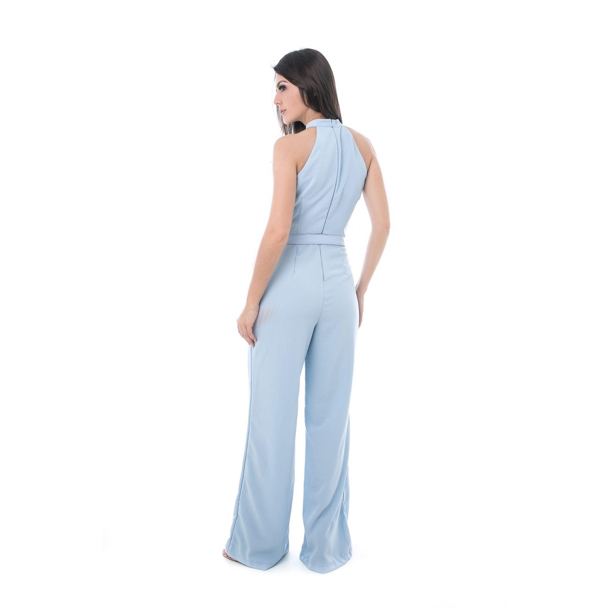 Macacão Pkd Estilo Pantalona Azul Claro