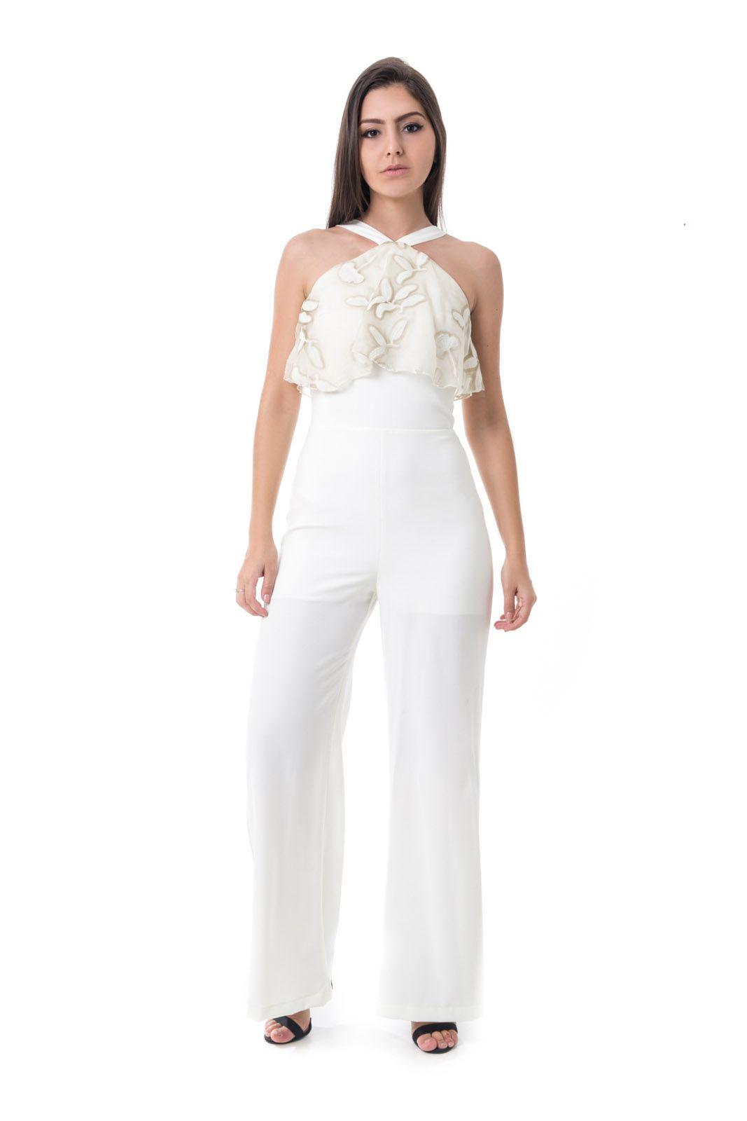 ec6164f20240 EspiarComprar · Vestido Longo Pkd Vazado Na Costela Off White. 42%OFF.  Macacão Pkd Estilo Pantalona Off White