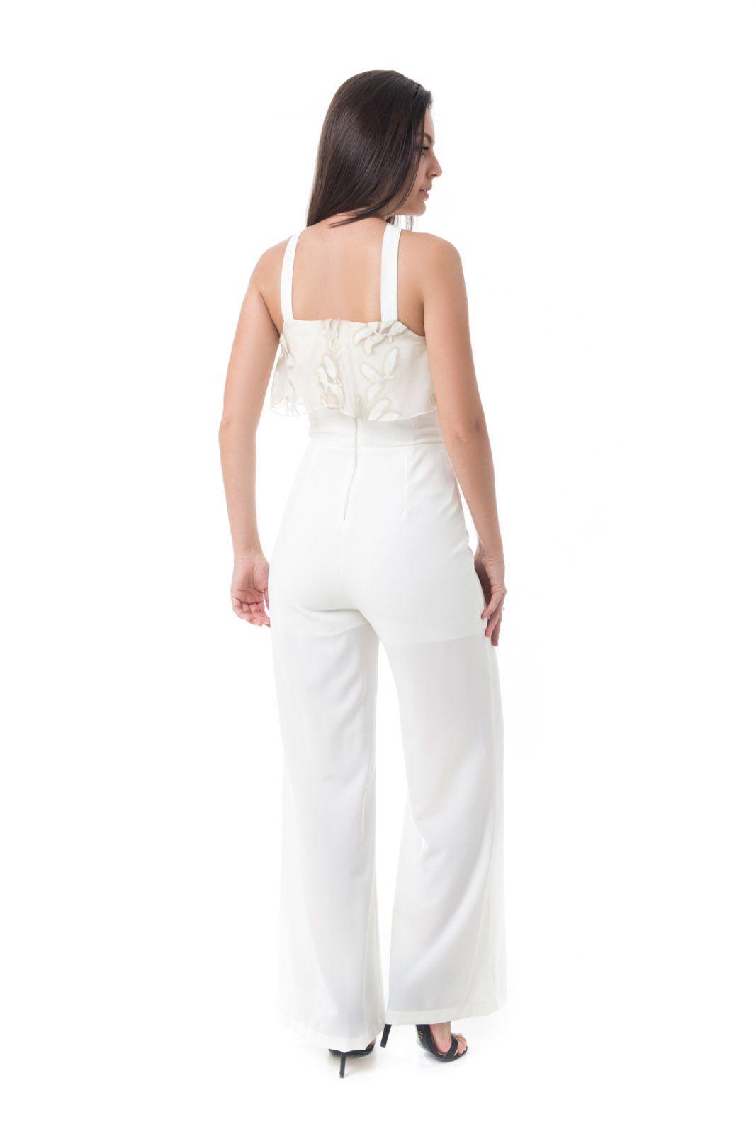 Macacão Pkd Estilo Pantalona Off White