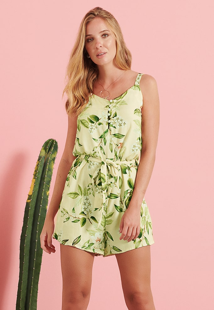 Macaquinho Pkd Estampa Floral Verde