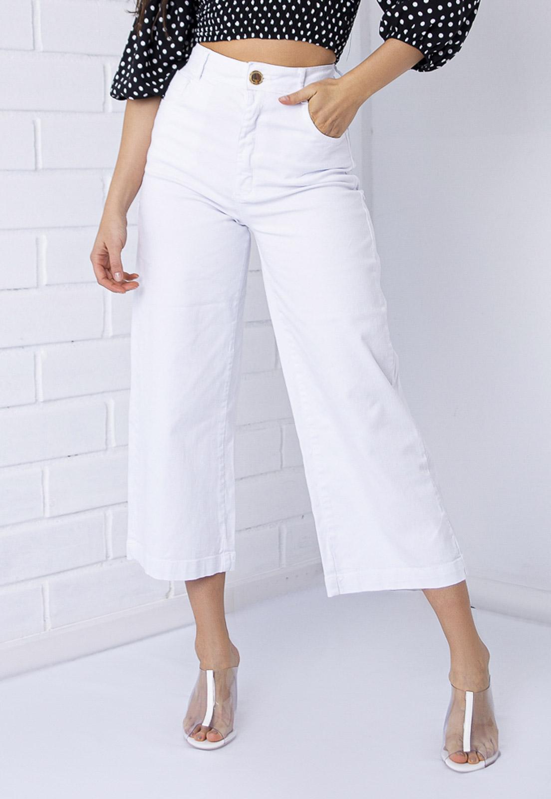 Calça Pantacourt Com Elastano Branca PKD