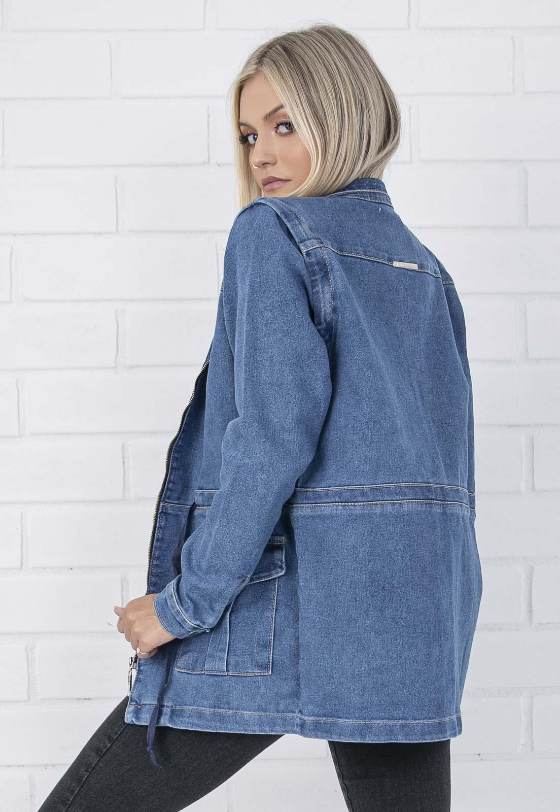 Parka Com Mangas Removíveis Jeans Jessie Pkd