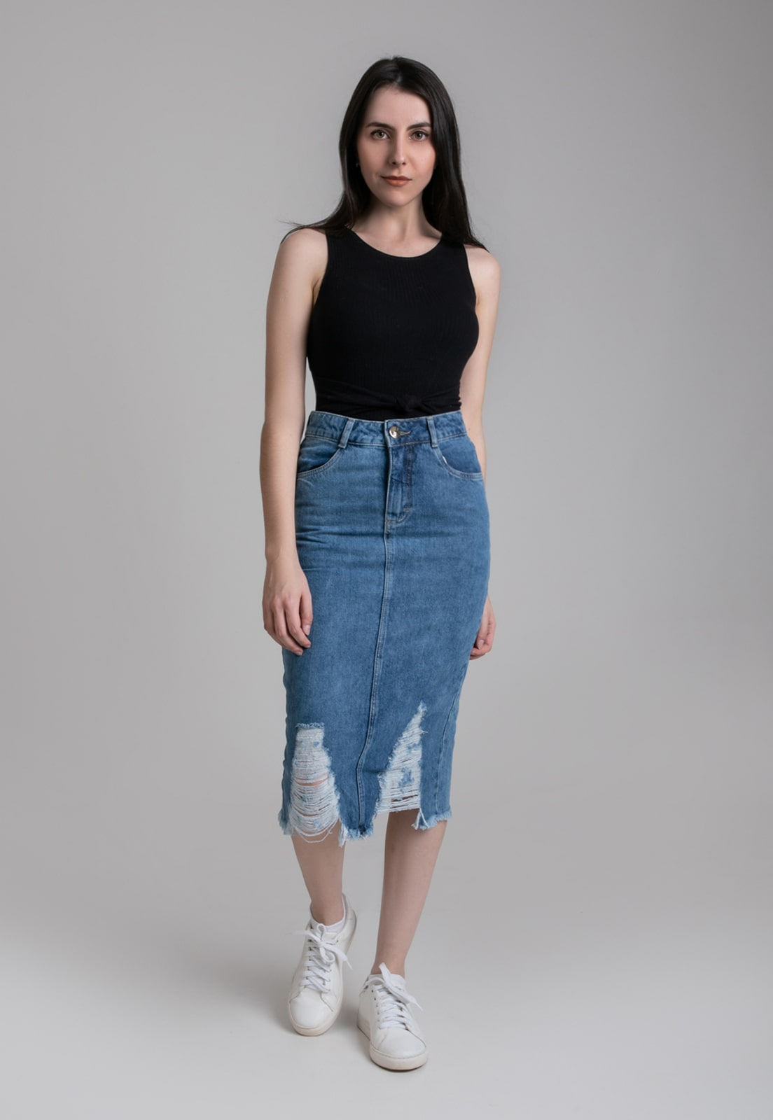 Saia Midi Barra Destroyed Pkd Jeans