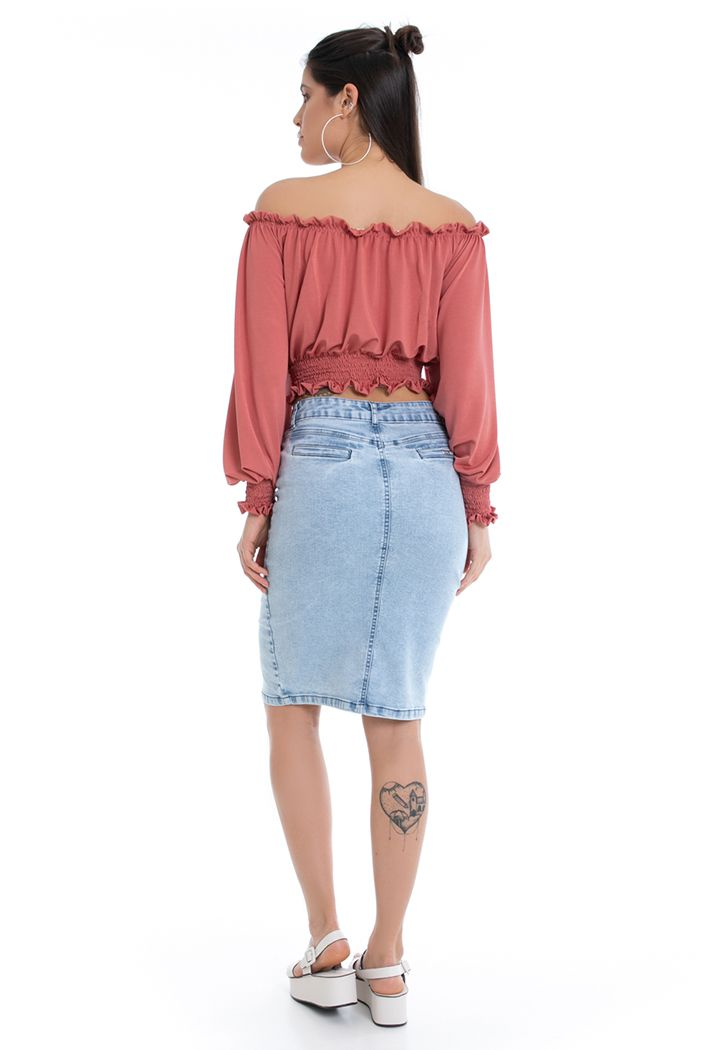 Saia Midi Pkd Com Elastano Jeans
