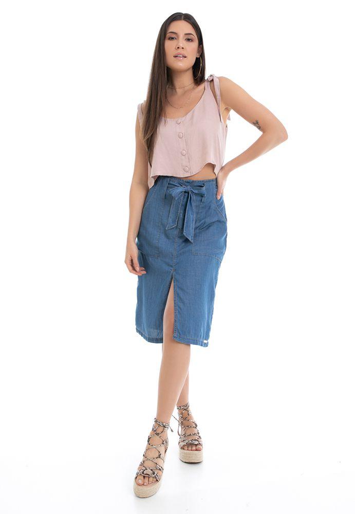 Saia Midi Pkd Com Faixa Jeans