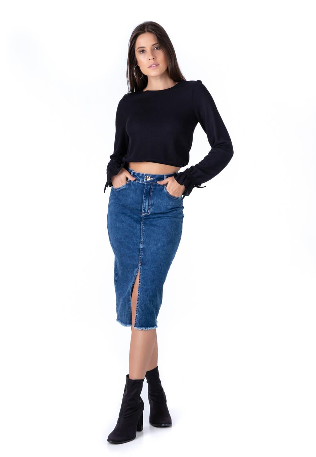 Saia Midi Pkd Jeans Escura