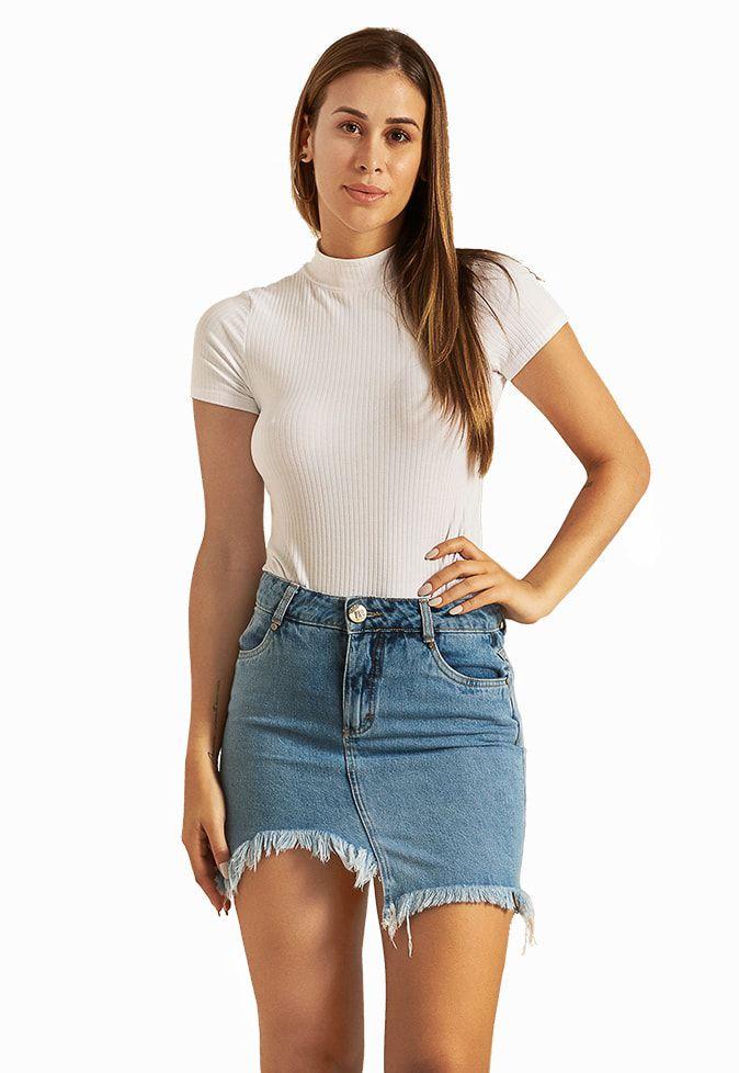 Saia Pkd Barra Assimétrica Jeans