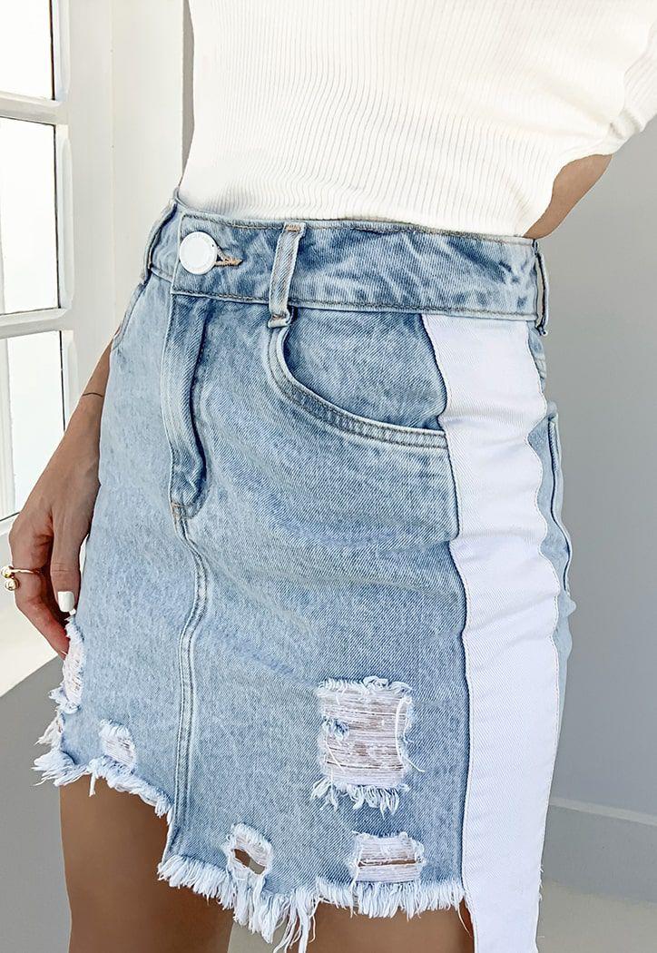 Saia Pkd Com Laterais Brancas Jeans