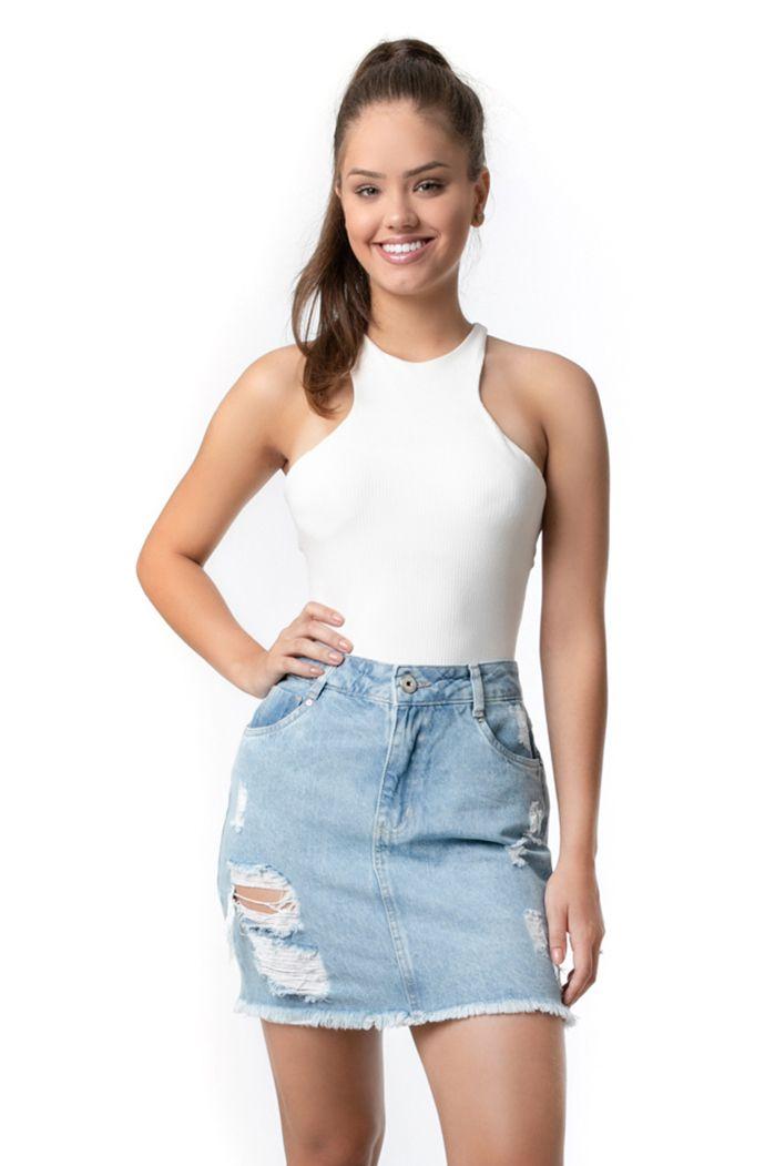Saia Pkd Destroyed Jeans Claro