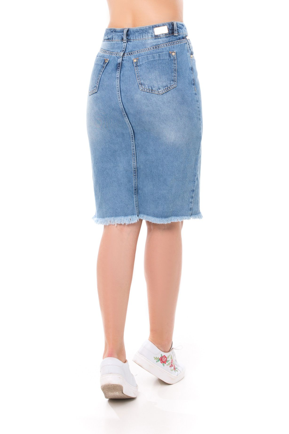 Saia Pkd Midi Jeans