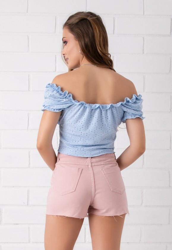 Shorts Colorido Pkd Botões Encapados Rosê