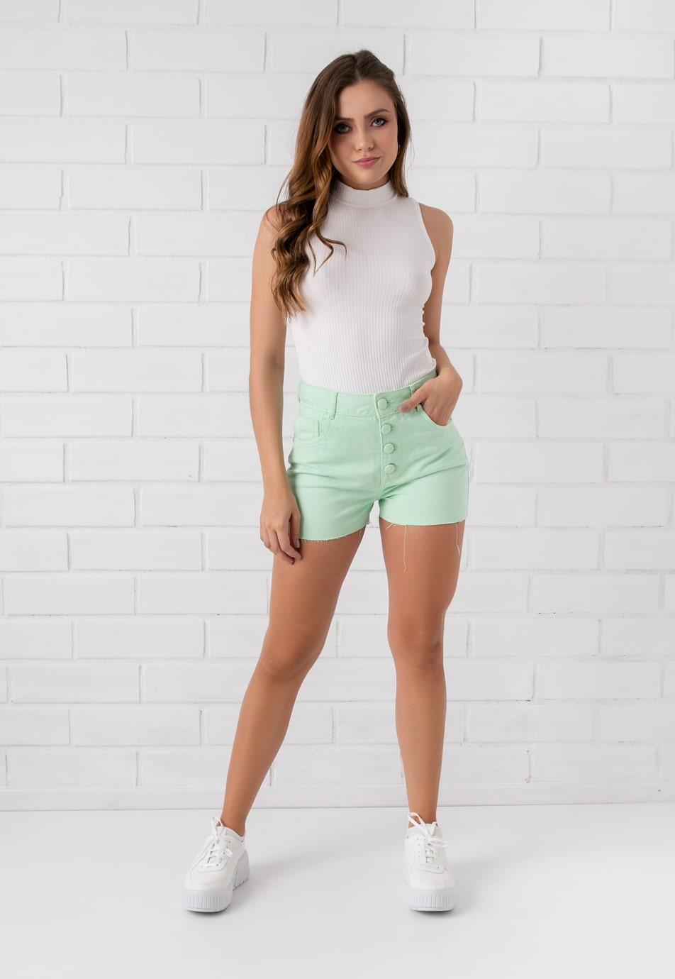 Shorts Colorido Pkd Botões Encapados Verde