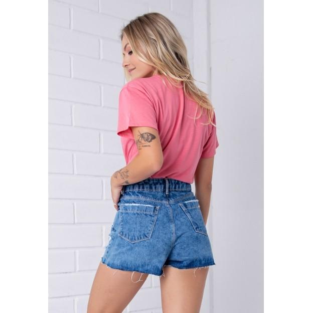 Shorts Pkd Barra Cortada Destroyed Jeans