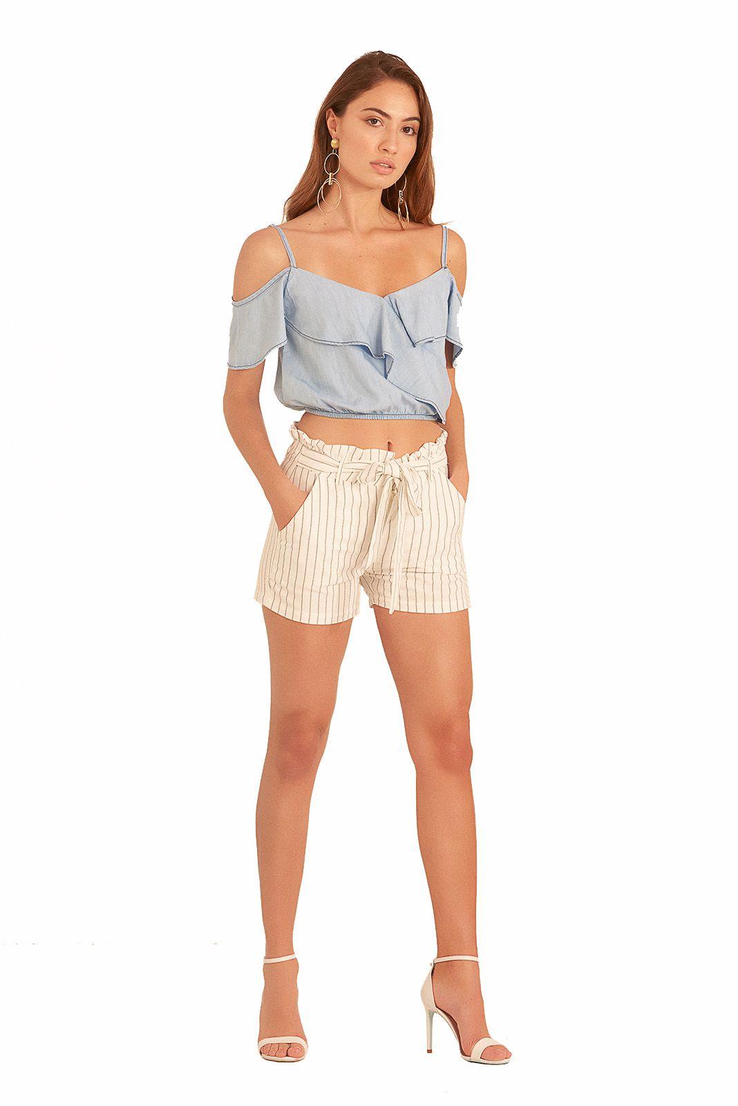 Shorts Pkd Clochard Listrado Branco