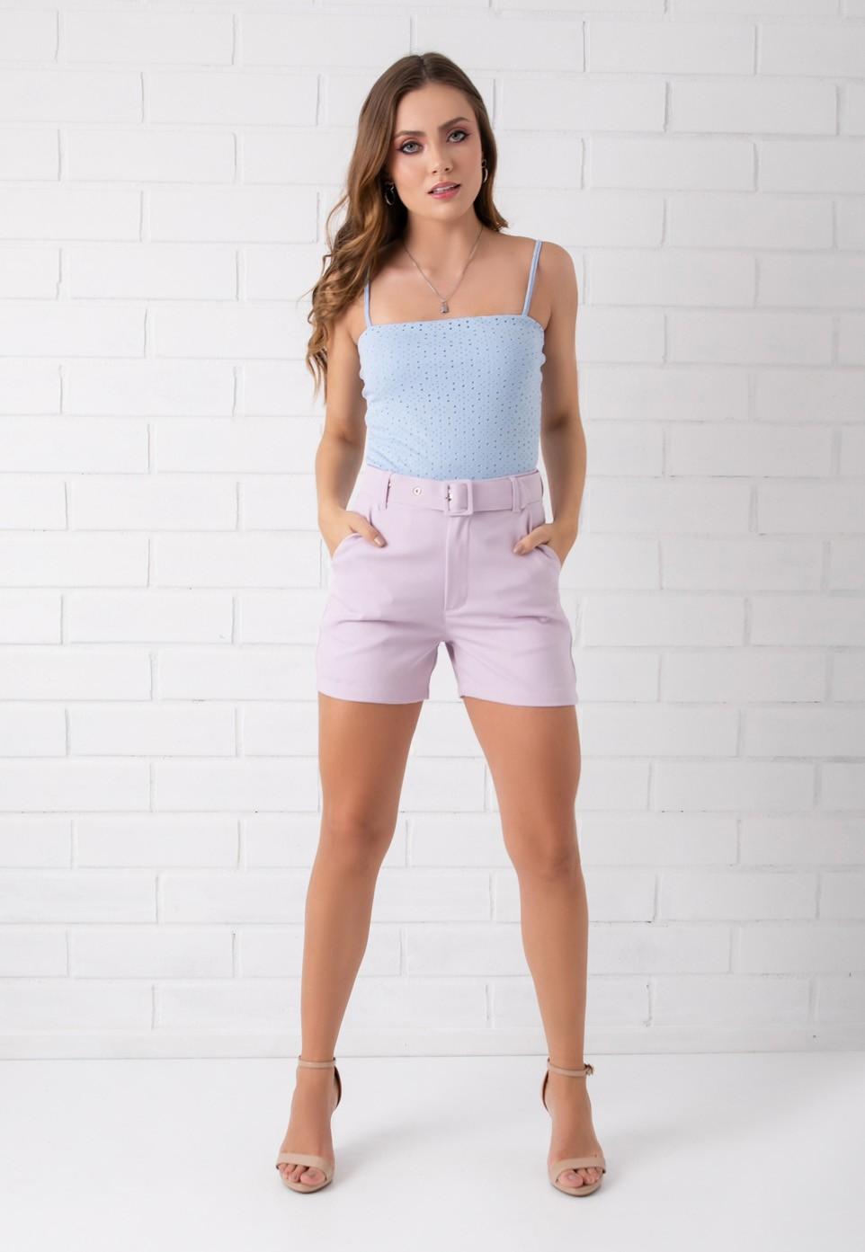 Shorts Pkd de Tecido Com Cinto Lilas
