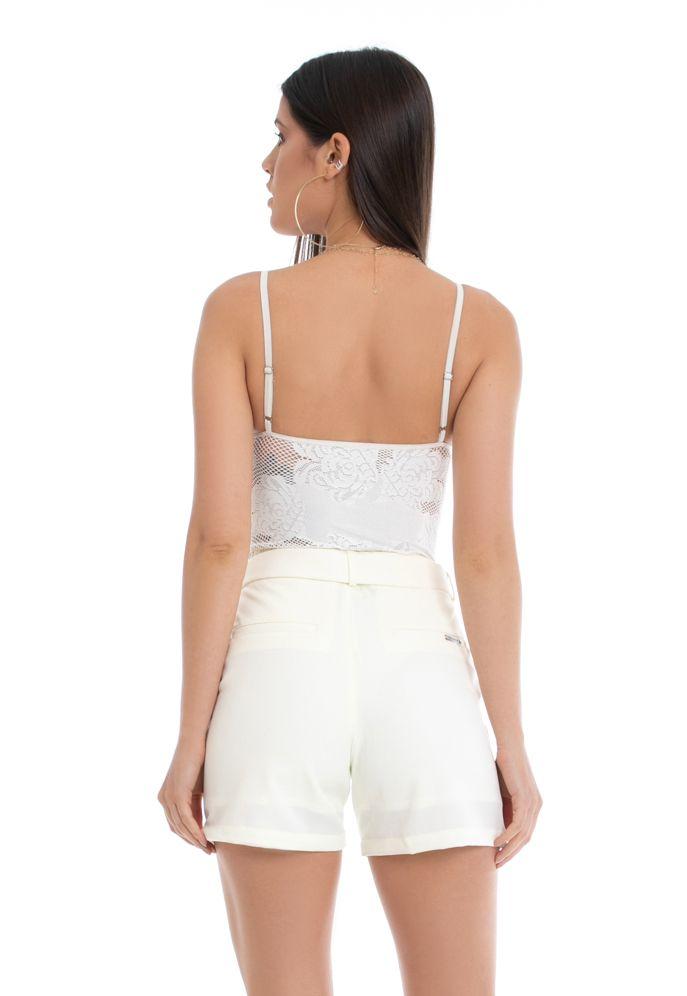 Shorts Pkd de Tecido Com Cinto Off White