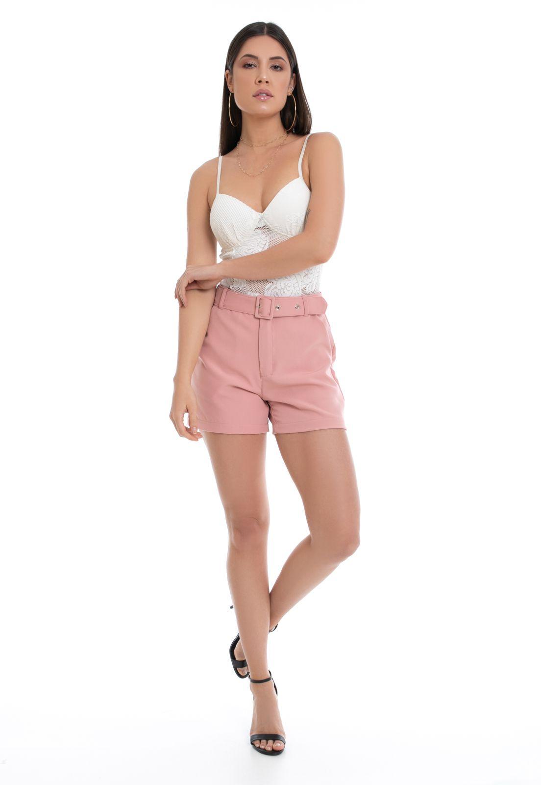 Shorts Pkd de Tecido Com Cinto Rosa