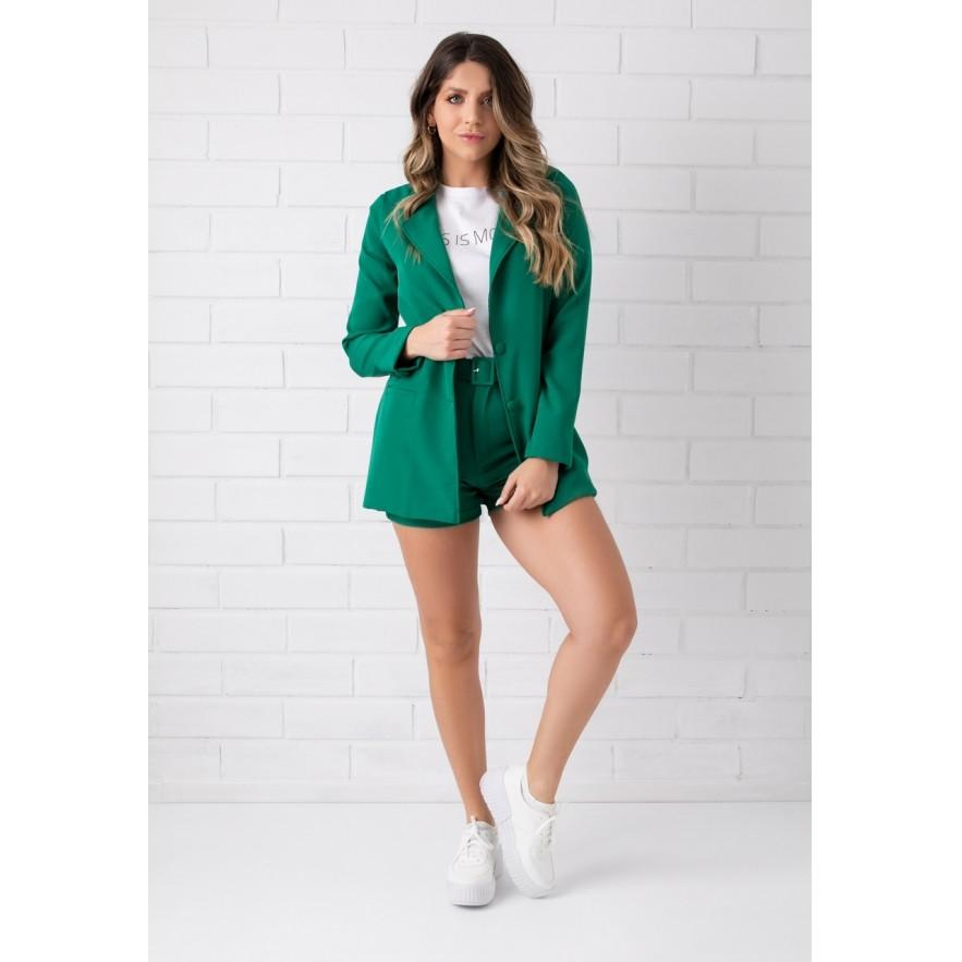 Shorts Pkd de Tecido Com Cinto Verde Bandeira