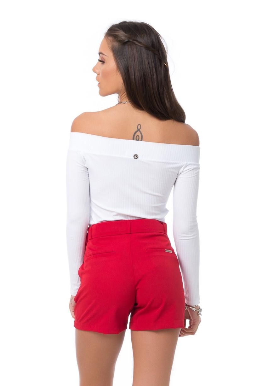 Shorts Pkd de Tecido Com Cinto Vermelho