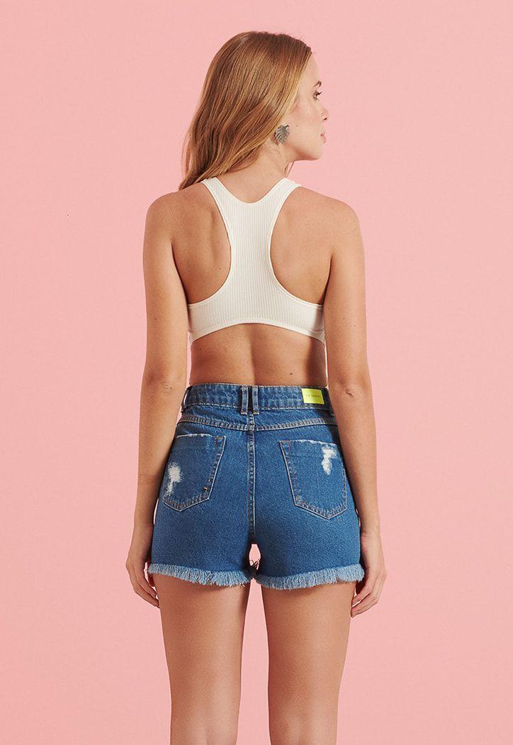 Shorts Pkd Hot Pant Barra Destroyed Jeans