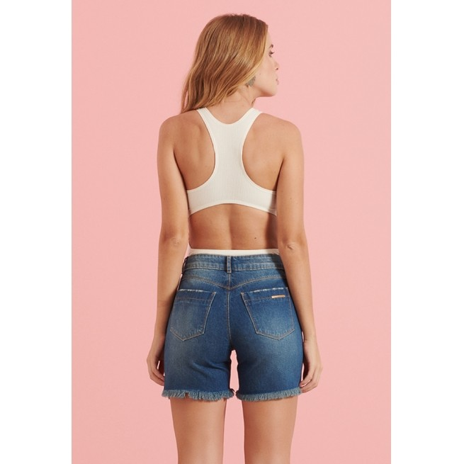 Shorts Pkd Meia Coxa com Barra Destroyed Jeans