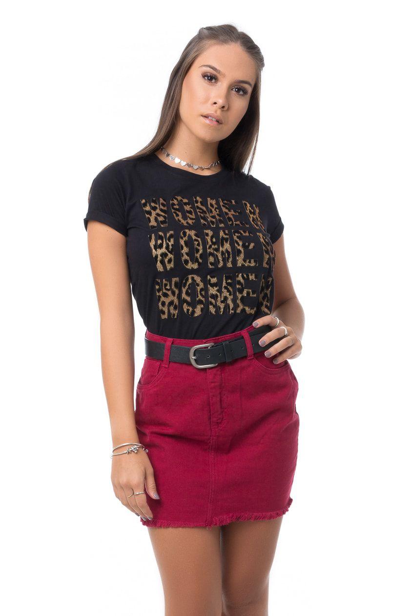 T-shirt Pkd Animal Print Preta